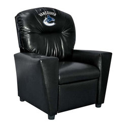Imperial International - Vancouver Canucks NHL Faux Leather Tween Recliner - Check out this awesome Tween Recliner - it's the perfect size for those Tween years. Now the whole family can join in and watch the game in their favorite chair! It has a great contemporary design with black faux leather all over, and a cup holder. The team logo is embroidered and sewn on the headrest. It's perfect for your Man Cave, Game Room, Garage or Basement.