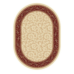 Tayse Rugs - Elegance Blue and Green Oval: 6 Ft. 7 In. x 9 Ft. 6 In. Rug - - Scrollwork interior with floral border makes this rug a perfect companion to traditional or transitional d�cor. In classic colors that are always in fashion. Ivory with red and gold. Made of soft polypropylene that is easy to clean. Vacuum and spot clean.  - Square Footage: 63  - Pattern: Oriental  - Pile Height: 0.39-Inch Tayse Rugs - 5402  Ivory  7x10 Oval
