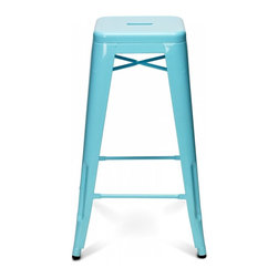 sugarSCOUT - Custom-Painted Tolix-Style Counter/Bar Stool, Aqua/Turquoise - Go bright....go colorful.