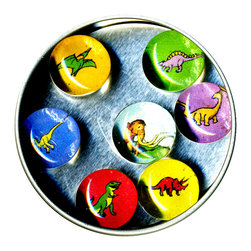 "Dinosaur Glass Gem Magnet Set - Handmade in our studio, our Dinosaur magnets started with tiny paintings of which were reproduced then reduced to size. We use super strong ceramic magnets, so they're not only cute, they're functional. (Unlike those magnets that fall off when you close the refrigerator door!) Each magnet is about 3/4 inch wide, the tin is 2.75"" wide. Set of 7 in a tin. Made in the USA."