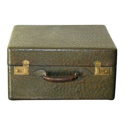 """Pre-owned Ostrich Leather Travel Case - Pack Your Bags... you just got yourself a one way ticket to Classytown!    This beautifully restored ostrich leather travel case is from the 1920's and comes in a rich green color with brass locks. The case is marked: """"Great Britain"""" and features a leather wrapped handle and original silk lining. The case is in very good condition - handle has some wear, pictured."""