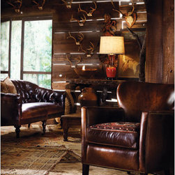 Our Products - Now that is what I call roughing it!  Lee Industries chair and sofa in leather.