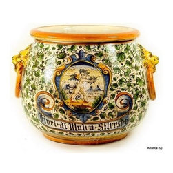 Artistica - Hand Made in Italy - RINASCIMENTO: Conic Cachepot with side ring and lion heads. - RINASCIMENTO Majolica: Combining unique Tuscan vessels with traditional renaissance hand painted scrollwork's in trendy colors.