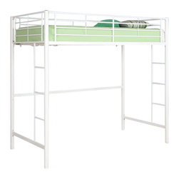 Walker Edison - Sunrise Metal Twin Loft Bed - White - Made of Powder Coated SteelBunk Bed Warning. Please read before purchase.