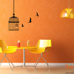 Birds and Cage Animal Wall Sticker (SKU 013) - The scene of birds soaring high up in the sky is just too magical. Stick this bird wall art on the wall of a forgotten area to bring it back to life. Decaleco LLC, all rights reserved.