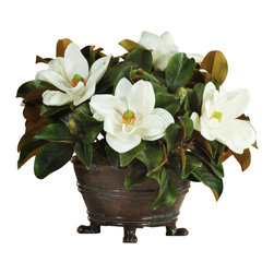 Winward Designs - Magnolia Urn Centerpiece Flower Arrangement - Magnolia blooms make a classic statement throughout the year. Their creamy white petals rest in elegant contrast to their velvety leaves. This distinguished look is perfect for a grand dining room table or mantel display — and you'll never have to worry about pruning the tree or changing the water in this permanent piece.