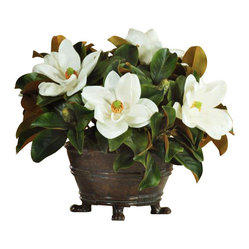 Winward - Magnolia Urn Centerpiece Flower Arrangement - Magnolia blooms make a classic statement throughout the year. Their creamy white petals rest in elegant contrast to their velvety leaves. This distinguished look is perfect for a grand dining room table or mantel display — and you'll never have to worry about pruning the tree or changing the water in this permanent piece.