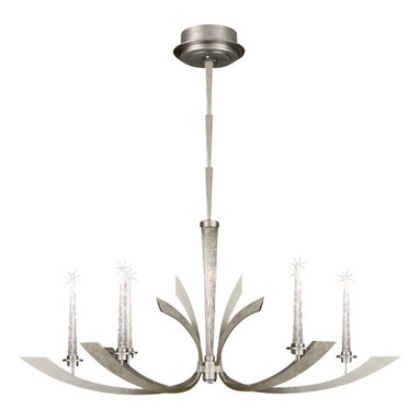 Fine Art Lamps - Crescents Silver Chandelier, 812640ST - A stylish riff on art deco design, this stunning chandelier sports six crescent-shaped arms fashioned from steel and treated to a silver-leaf finish. Each arm supports a handblown crystal candle fitted with a tiny electric bulb, adding a twinkle of subtle illumination to your tabletop.