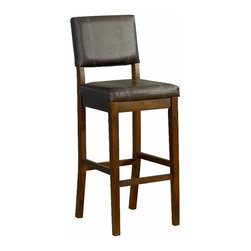 """Linon Home Decor - Linon Home Decor Milano Bar Stool 30 X-DK-10-121NRBV1120 - Create a contemporary or classical look in your kitchen, dining or home pub area with the sleek shape and style of this medium dark walnut finish 30"""" Milano Bar Stool.   Solid wood legs give this courtly stool additional strength ensuring years of everyday use.  The padded cushion will provide optimum comfort for you and your guests and is topped with durable Dark Brown Vinyl that is stain resistant, fade resistant and features tightly woven threads that won't break, mat or peel.  275 pound weight limit."""