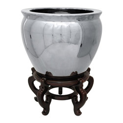 "Oriental Furniture - 14"" Pure Silver Porcelain Fishbowl - An elegant, lustrous Asian style fishbowl. Crafted from durable, high grade Chinese porcelain, and finished in a metallic silver high gloss glaze. Traditionally used to display fish in palaces and wealthy Asian households. Now commonly used as planters for indoor trees or as decorative household accents."