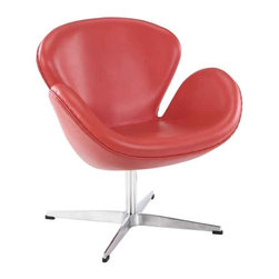 Modway - Wing Chair In Red Aniline Leather - Eei-527-Red - High Density Foam Cushioning