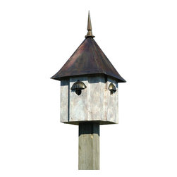 Heartwood - Avian Meadows Bird House Old World Finish - This  beautiful  birdhouse  is  the  perfect  addition  to  any  home  or  garden  of  your  choice.  This  duplex  version  of  our  popular  Avian  Estates,  with  all  the  same  luxury  as  the  original  is  just  as  fabulous  and  fantastic.  Two  perfectly  sized  compartments--One  fabulous  house!   This  bird  house  is  one  you  are  sure  to  enjoy  in  the  years  to  come.                  13x13x24              1-1/2  holes              Handcrafted  in  USA  from  renewable,  FSC  certified  wood