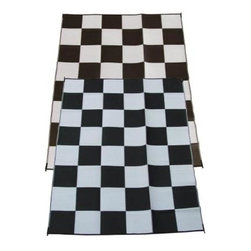 Fireside Patio Mats - Indoor/Outdoor Floor Mat: Racing Checks Black and White Checkered Flag 9' x 12' - Shop for Flooring at The Home Depot. Fireside Racing Checks 108 in. x 144 in. Reversible Patio Mat comes in a Black and White color combination and checkered pattern. This mat is large enough to comfortably sit 4 to 6 adults. Fireside reversible RV / Patio Mats will add a touch of elegance to your deck or patio. These high quality Polypropylene (plastic) mats are reversible with a complimentary pattern on the opposite side. You get two patterns for one low price. Fireside Patio Mats are lightweight and compact when folded so they are easy to travel with and easy to store. All of our Fireside indoor/outdoor reversible patio mats are stain and fade resistant and clean up is a breeze. Simply rinse your mat with a garden hose and allow to air dry. Fireside reversible patio mats have corner tie-down loops to stake the mat to the ground in windy conditions (tent stakes sold separately). Use our lightweight, reversible patio mats to spruce up a tired old deck or patio, while camping or RVing, on the beach, by the pool, for picnics, at car races, while tailgating, in the backyard or in the playroom or recreation room. Whether you call them RV mats, RV awning mats or simply patio mats, Fireside Patio Mats offers high quality reversible mats that are simply gorgeous and functional.