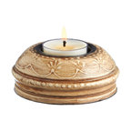 Everybody's Ayurveda - Wooden Hand Painted T-lite Holder in Adoosa Wood - Ivory - Ivory Wooden Embossed Painted Tealight Holder. Adoosa Wood. Package Includes: T-lite Holder Only. Dimensions: Width: 3.5 inch. Height: 1.25 inch.