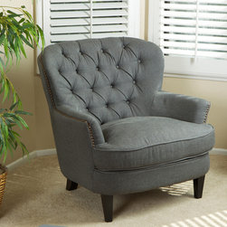 Christopher Knight Home - Christopher Knight Home Tafton Tufted Grey Fabric Club Chair - Relax in comfort with this gray fabric club chair. The chair features a studded perimeter and espresso-stained hardwood finish that is sure to add a touch of elegance to almost any room. The sturdy hardwood frame provides additional support.