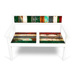 EcoChic Lifestyles - Bay Dreamer Reclaimed Wood Bench - The Bay Dreamer Bench invites you to get lost in your thoughts on a lazy afternoon. Architectural white framing complements the bright pop of color from the reclaimed fishing boat wood. A versatile piece that will work nicely in a salon or a wraparound porch.
