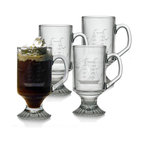 INSTEN - Clipper Ship Handcut Footed Mugs (Set of 4) - This set of footed mugs features a hand-cut clipper ship pattern honed by the skilled artisans of Susquehanna Glass. Accent your home bar collection or give these glasses as a gift to a friend.