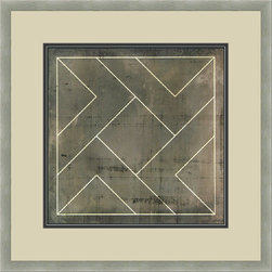 """Mantle Art Company - Vision Studio """"Geometric Blueprint VII"""" fine art print - Beautiful modern art custom framed by designers to bring out the best in this piece of art. Made in the USA"""