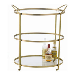 "Wellesley Bar Cart - This classic three level bar cart with a trio of clear glass shelves and antique brass finish metal frame on decorative casters makes the Wellesley Bar Cart a beautiful accent piece.Dimensions: 36""H x 30""W x 20""D"