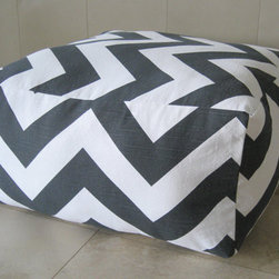 Large Pouf Floor Pillow, Charcoal/White by Aletafae - When looking for pieces for my child's playroom, I like to buy items that can be versatile. This pouf can be used as a floor pillow in a playroom, but can also serve a coffee table with a tray on top or a stylish pet bed.