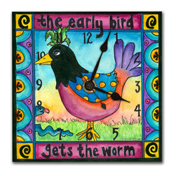 Early Bird Wall Clock - The Early Bird Clock is hand made in our studio, from a print of an original watercolor. The print is dry mounted onto black foam board and heat-sealed with a protective laminate, so it looks just like tile, but is so light it can be hung on a pushpin. It has a hanger on the back and comes in a gift box. The quartz movement runs on a single AA battery.