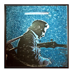 """Glittered Johnny Cash Live at San Quentin Prison Album - Glittered record album. Album is framed in a black 12x12"""" square frame with front and back cover and clips holding the record in place on the back. Album covers are original vintage covers."""