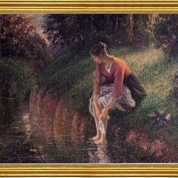 "Camille Pissarro-16""x20"" Framed Canvas - 16"" x 20"" Camille Pissarro Young Woman Bathing Her Feet (also known as The Foot Bath) framed premium canvas print reproduced to meet museum quality standards. Our museum quality canvas prints are produced using high-precision print technology for a more accurate reproduction printed on high quality canvas with fade-resistant, archival inks. Our progressive business model allows us to offer works of art to you at the best wholesale pricing, significantly less than art gallery prices, affordable to all. This artwork is hand stretched onto wooden stretcher bars, then mounted into our 3"" wide gold finish frame with black panel by one of our expert framers. Our framed canvas print comes with hardware, ready to hang on your wall.  We present a comprehensive collection of exceptional canvas art reproductions by Camille Pissarro."