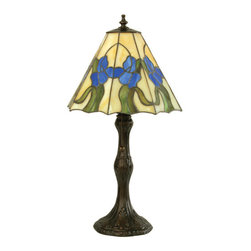 """Meyda - 20.5""""H Iris Accent Lamp - A classic original meyda tiffany design features the lovely irish mini lamp design. A delicate blue irisgrows splendidly on green leaves set on a beige stainedglass background. The shade is complemented with a charming base finished in mahogany bronze. Bulb type: med bulb quantity: 1 bulb wattage: 60"""