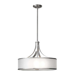 Murray Feiss - Murray Feiss Casual Luxury Drum Shade Pendant Light in Brushed Steel - Shown in picture: Casual Luxury Up Light Chandelier in Brushed Steel finish with Bronze Organza'Hardback shade w/fabric
