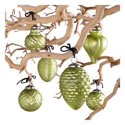 Fiona Mercury Glass Ornaments - Metallic Pea - Light up your holiday decor with these beautifully hand-crafted glass ornaments.