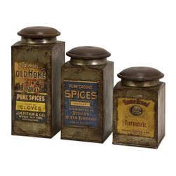 IMAX Worldwide Home - Addie Label Wood & Metal Canisters - Set of 3 - Set of three antiqued metal canisters each with a distinctive vintage label and a wooden lid. Containers-Metal. 6-9 in. H x 3.5 in. D. Food safe. 85% Galvanized Iron,10% Mango Wood, 5% Rubber Ring