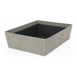 Bigso - Bigso Sutton Storage Bin - Grey Canvas, Set of 2 - Organize important papers or store socks and ties in our grey Sutton Open Storage Bins. Covered with a textured canvas paper, these sophisticated tapered boxes are made from sturdy recycled fiberboard construction and thick laminated canvas paper exterior.