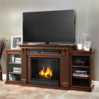 Real Flame - Real Flame Ashley Ent Center Ventless Gel Fireplace in Dark Espresso - Real Flame - Fireplaces - 7720DE - Based on a best selling favorite the Ashley Entertainment Mantel features ample storage thanks to a drop down center glass door and dual side cabinets. Capable of safely supporting a television of 100 lbs. or less while adjustable shelving accommodate most electronics and other objects. The hand-painted log set and bright crackling flame add to the realistic look of this Real Flame Gel Fuel Fireplace. Uses 3 - 13oz. cans of Real Flame Gel Fuel. Available in Dark Walnut and Dark Espresso finishes.