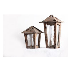 ParrotUncle - Driftwood Handmade Lantern Candle Holder Pair of 2 - The retro styling of this decoration lantern definitely give these candlestick holder a unique look