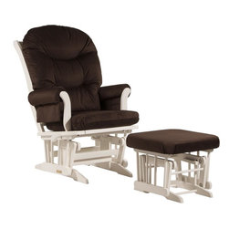 Dutailier - Sleigh glider-multiposition, recline and nursing ottoman combo - chocolate - Dutailier's exclusive gliding system with top quality sealed ball bearings. Multiposition mechanism allows to stop the glider at the desired position. Great reclining mechanism allows backrest to be fully adjustable. Hardwood frame in white finish. Matching nursing ottoman included. Glider: 27 in. x 31 x 42.5 in.. Ottoman: 20 in. x 18 in. x 14.75 in.Ideal for nursing or simply relaxing, this Sleigh glider and nursing ottoman combo offers an exceptionally smooth and extra long glide motion with thick cushions and padded arms that will add class and elegance to your decor. The multiposition mechanism locks the glider in 6 different positions and makes it easier to sit in or step out of the glider. In addition, it features a reclining mechanism to maximize your comfort. Use the retractable footrest of the nursing ottoman for an optimal nursing position. There are no sharp edges, the finish is toxic free and this product meets all safety standards.