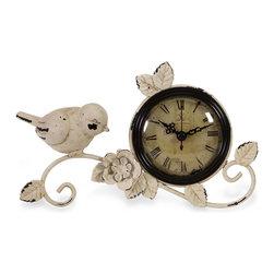 iMax - iMax Bird Tabletop Clock X-30161 - Antique white metal bird and rose clock