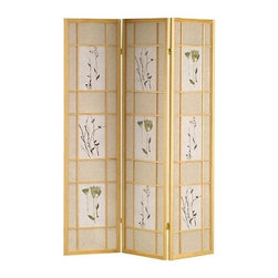 ORE International - 3-Panel Folding Shoji Screen - Floral print. Rice paper panels. Made from solid Pinewood. 50 in. L x 6 in. W x 70 in. H (10 lbs.)A warm and inviting way to bring elements of the outdoors into your indoor decor. It will be a spirited addition to your home decor. Perfect for generating architectural interest or adding privacy.