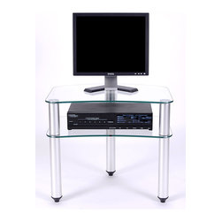 "RTA Home & Office - Tripod 2 Glass Shelf Flat Screen Stand w Accessory Shelf (Without Casters) - Casters: Without Casters. The sleek and elegant design that makes up the Tripod 2 Glass Shelf Flat Screen Stand with Accessory Shelf features sturdy aluminum legs with thick 8mm tempered clear glass shelves and a stand that will accommodate a 24"" flat panel television.  Smaller plasma or LCD TVs or even a larger computer monitor all look stylish and attractive on this media center.  Two 8mm clear tempered glass shelves are sturdy and compact but big enough to hold your DVD player or VCR.  This petite TV stand lifts your components off the ground for a very uncluttered feeling, and its size will allow it to fit into very small spaces.  Its sturdy aluminum legs will keep it centered and stable while its 8mm glass shelves will always look sleek and chic. * Designed to fit into even the tightest spaces. Sleek and elegant design complimented by sturdy aluminum legs and topped with thick 8mm tempered clear glass shelves. Stand will accommodate a 24"" flat panel television. 20 H X 24 W X 16.15 D. Easy to assemble."