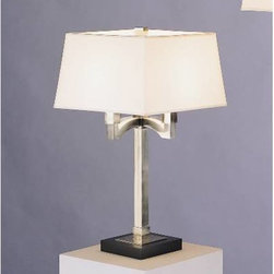 "Robert Abbey - Robert Abbey 141 Antique Silver Doughnut 4 Light Table Lamp 14 - An elegant look in an antique silver finish over pure brass construction. Ebony finish wood base. Four arm design topped with square snowflake fabric shade. Includes a full-range dimmer.One square-shaped, Snowflake fabric shade Metal body Ebony finished wood base Full-Range Dimmer switch Eight foot cord UL ListedBase: 7""L x 7""W Bulb Included: No Bulb Type: Incandescent Collection: Doughnut Country of Origin: China Height: 27-1 4 Number of Lights: 4 Style: Transitional Voltage: 120 Wattage: 60W Max Weight: 11"