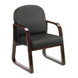 BOSS Chair - Padded Reception Chair Upholstered In Black F - Wood reception chair. Mahogany wood finish. Molded wood frame with extra thick seat and back cushions. Cushion color: Black. Base/wood: Mahogany. Seat size: 20 in. W x 19 in. D. Seat height: 17.5 in. H. Arm height: 25 in. H. Overall dimension: 24 in. W x 25 in. D x 34 in. H. Weight capacity: 250 lbs