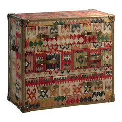 Kathy Kuo Home - Taos Global Bazaar Kilim Tapestry Three Drawer Chest Dresser - Rich hues of hand-dyed tapestry adorn almost every inch of this trio of drawers.  Chestnut leather detailing on handles and edges adds the final touch to create a worldly, global bazaar style for your bedroom. Or, try placing this striking piece in your living room as a brilliantly colorful storage chest. Each piece of tapestry will vary slightly.