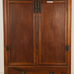 Chinese Tall Armoire with Beautiful Carved Panels - Chinese Tall Armoire with Beautiful Carved Panels