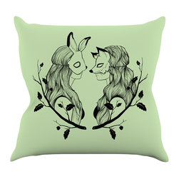 "Kess InHouse - Jaidyn Erickson ""Foxybuns""  Throw Pillow (18"" x 18"") - Rest among the art you love. Transform your hang out room into a hip gallery, that's also comfortable. With this pillow you can create an environment that reflects your unique style. It's amazing what a throw pillow can do to complete a room. (Kess InHouse is not responsible for pillow fighting that may occur as the result of creative stimulation)."