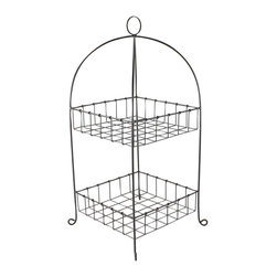 Darby Metal Two Tiered Basket - Picturesque, but embracing the aesthetic of perfect simplicity, the Darby Metal Two Tiered Basket is useful as a produce container on the kitchen counter, a holder for spare towels in the guest bath, or a book rack in the library � and additional uses are limited only by the spaces where such a well-composed metallic design can be placed.� An arched outline gives a gracious finish to a look that relies on wire gridwork.