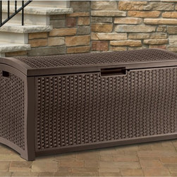 Suncast - Suncast DBW9200 Resin Wicker 99-Gallon Deck Box Multicolor - DBW9200 - Shop for Sheds and Storage from Hayneedle.com! With 99 gallons of storage space you can load up the Suncast Resin Wicker 99 gal. Deck Box with all your outdoor gear. Garden tools pool supplies snow-day necessities like scrapers salt boots and hats can all be piled in to this durably constructed outdoor storage box with room to spare. Available in mocha with woven-style inlays that give the appearance of natural wicker this lightweight unit combines long-lasting durability with chic design. Its unique stay-dry features will help keep your stored items dry and protected. This unit is also lockable for added security and it assembles in minutes with no tools required. About Suncast Corporation:Suncast is known for its high-quality low-maintenance storage products and accessories. Organize gardens back yards garages basements and more. Suncast's full line of products includes everything from storage lockers to sheds and bins. Suncast pieces are designed for low-maintenance worry-free performance that's versatile enough to suit your every need.