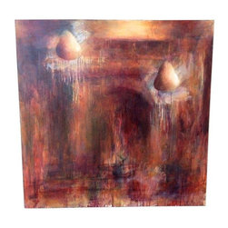 """Used Monroe Hodder Red Temple & Pears Painting - This one of a kind painting is titled """"Red Temple & Pears IV"""" by artist Monroe Hodder. Beautifully done this art piece is a conversational piece. 48"""" x 48"""" canvas. The perfect piece in any room!"""