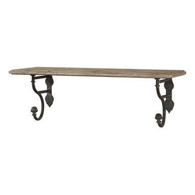 Matthew Williams - Matthew Williams Gualdo Traditional Wall Shelf X-42831 - Aged wood shelf with metal details finished in a rustic olive bronze.