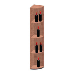 Vinotemp - Quarter Round Shelf Wine Rack - Floor standing. Made from redwood. 12 in. W x 12 in. D x 73.37 in. H (48 lbs.). Made in USA. Custom made: 8 to 10 weeks lead time. Four shelves. Designed to display bottles. Triple sanded edges. Prevent label tearing and splinters. WarrantyThese racks are a great modular option to build your own wine room.