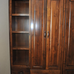 Custom King sized Murphy Wallbed with cabients - Left side cabinet with pull-out wardrobe.