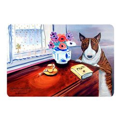 Caroline's Treasures - Bull Terrier Kitchen Or Bath Mat 24X36 - Kitchen or Bath COMFORT FLOOR MAT This mat is 24 inch by 36 inch.  Comfort Mat / Carpet / Rug that is Made and Printed in the USA. A foam cushion is attached to the bottom of the mat for comfort when standing. The mat has been permenantly dyed for moderate traffic. Durable and fade resistant. The back of the mat is rubber backed to keep the mat from slipping on a smooth floor. Use pressure and water from garden hose or power washer to clean the mat.  Vacuuming only with the hard wood floor setting, as to not pull up the knap of the felt.   Avoid soap or cleaner that produces suds when cleaning.  It will be difficult to get the suds out of the mat.